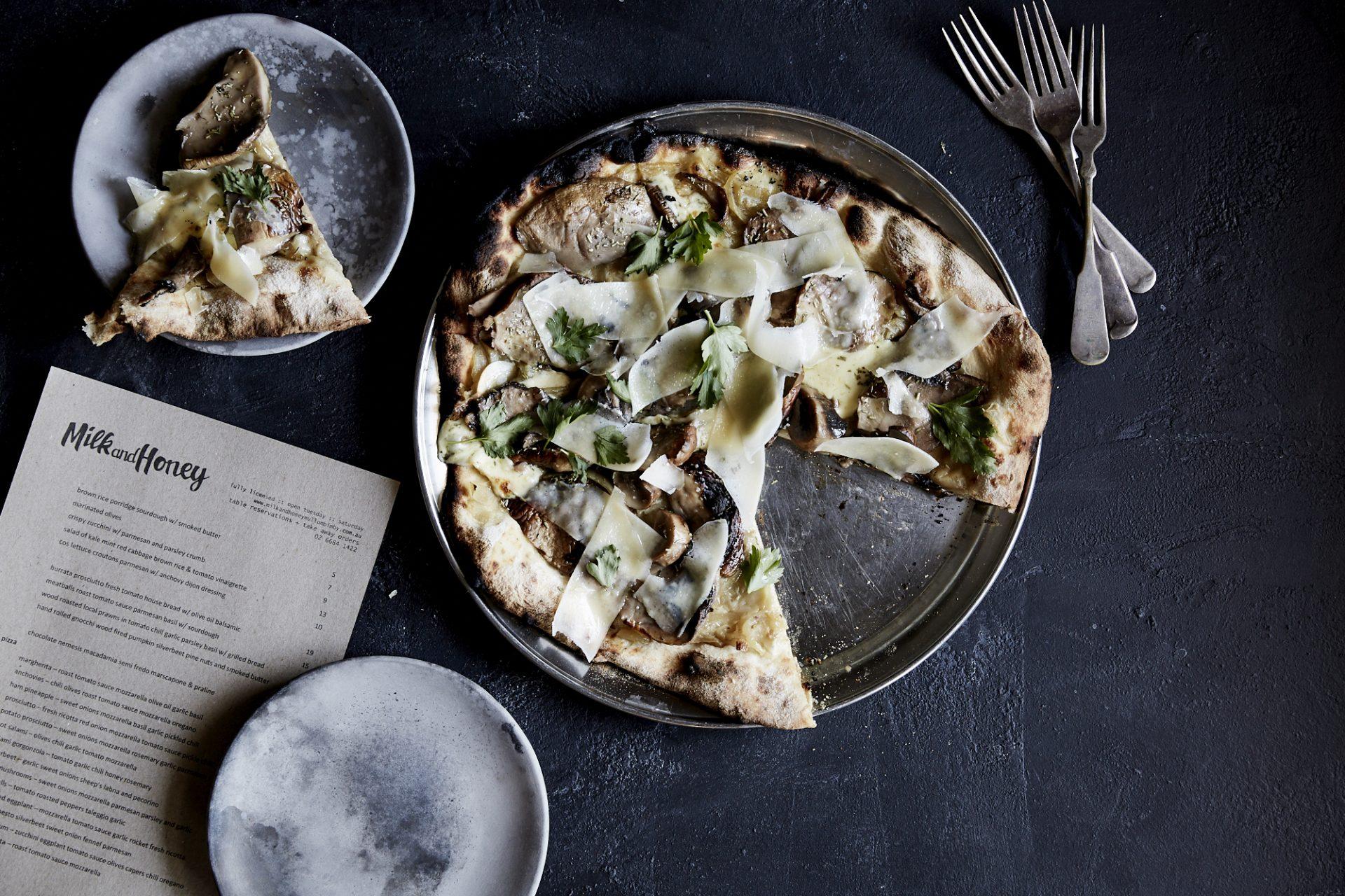 Milk & Honey woodfired pizza in Mullumbimby